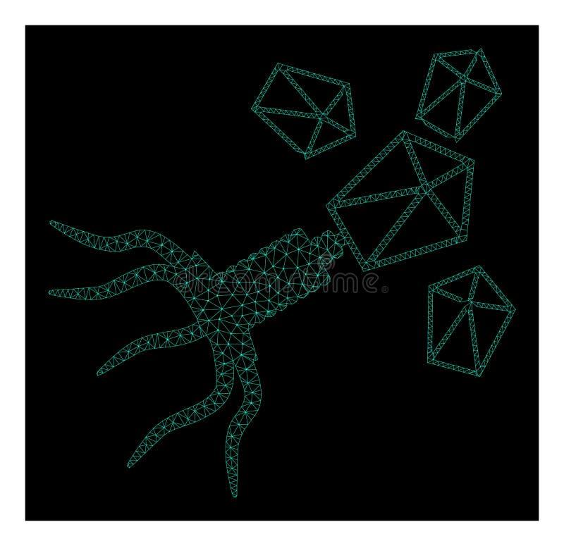 Mesh Virus Replication in Polygonal Wire Frame Vector Style stock illustration