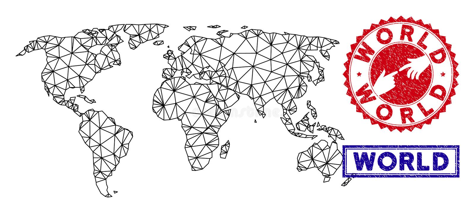 Polygonal Mesh World Map and Grunge Stamps vector illustration