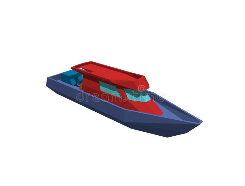 Polygonal motoriskt fartyg bakgrund isolerad white framförande 3d vektor illustrationer