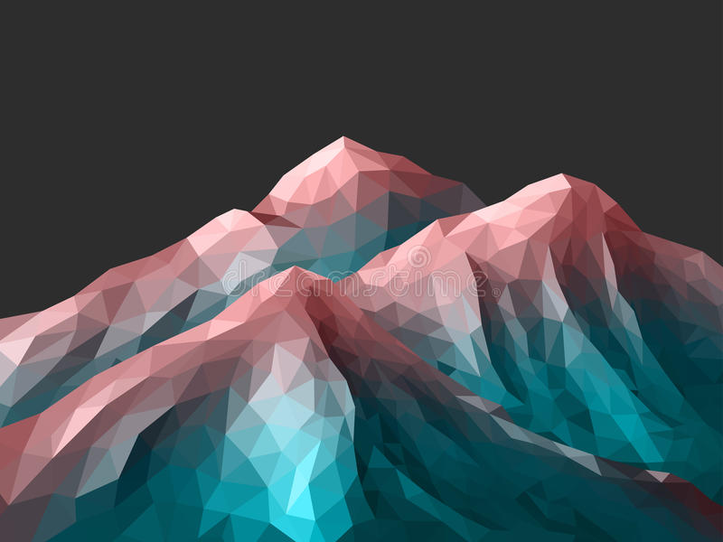 Polygonal Mountain Rose Quartz Gradient vector illustration