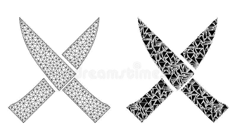 Polygonal nätverk Mesh Crossing Knives och mosaisk symbol vektor illustrationer