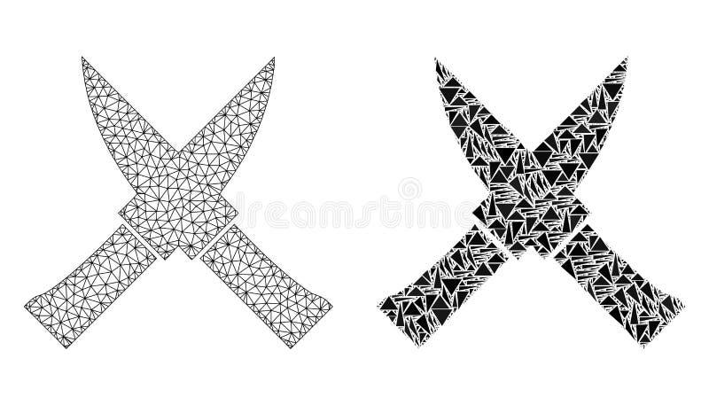 Polygonal nätverk Mesh Crossing Knives och mosaisk symbol royaltyfri illustrationer