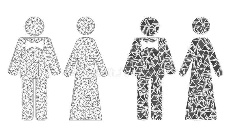 Polygonal nätverk Mesh Just Married Persons och mosaisk symbol stock illustrationer