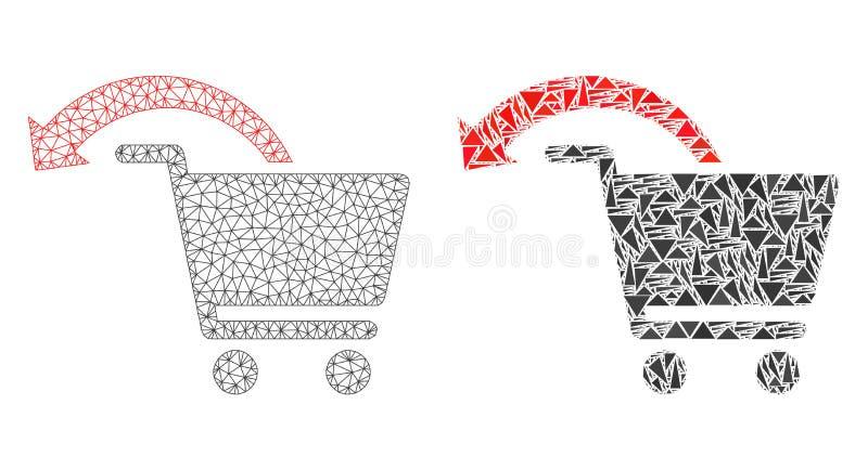 Polygonal nätverk Mesh Refund Shopping Order och mosaisk symbol vektor illustrationer
