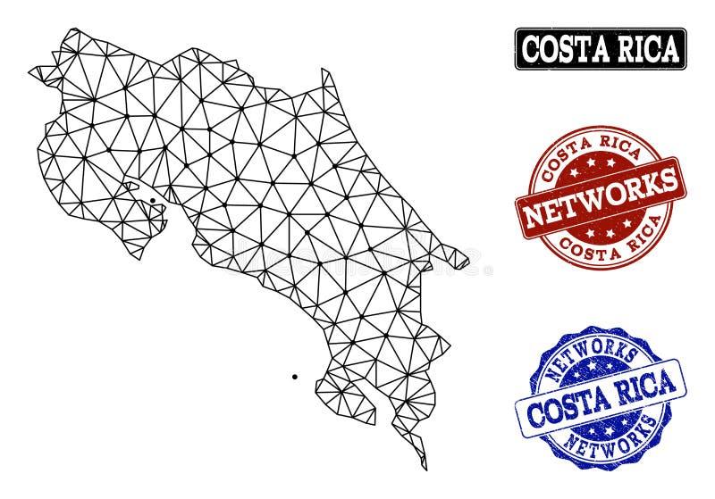 Polygonal nätverk Mesh Vector Map av Costa Rica och nätverksGrungestämplar vektor illustrationer