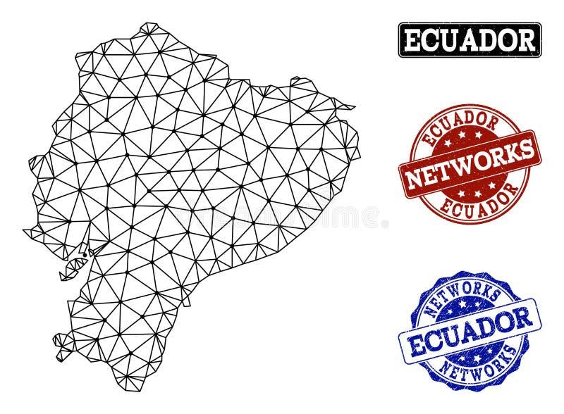 Polygonal nätverk Mesh Vector Map av Ecuador och nätverksGrungestämplar royaltyfri illustrationer