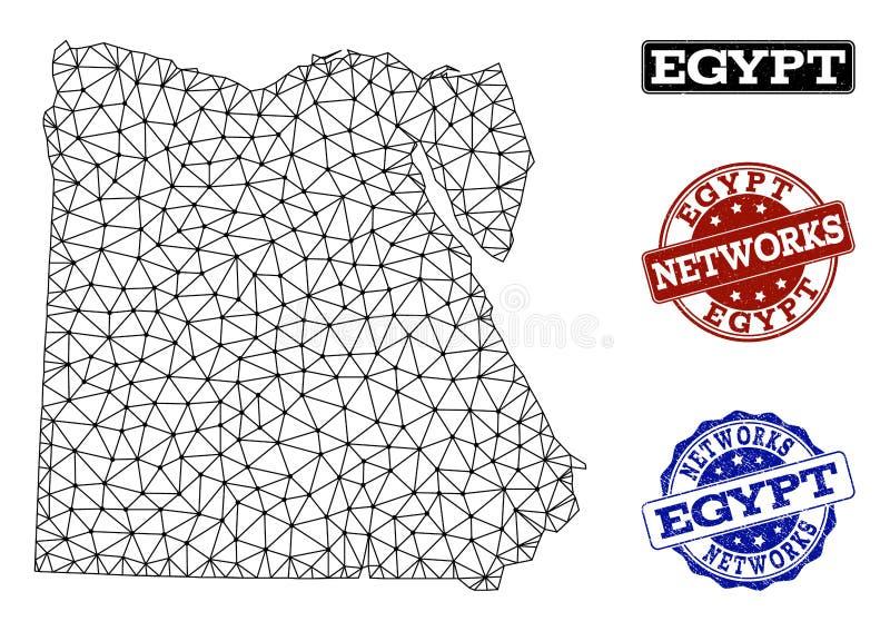 Polygonal nätverk Mesh Vector Map av Egypten och nätverksGrungestämplar royaltyfri illustrationer