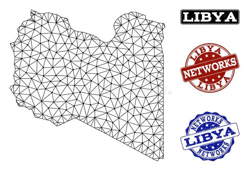 Polygonal nätverk Mesh Vector Map av Libyen och nätverksGrungestämplar vektor illustrationer