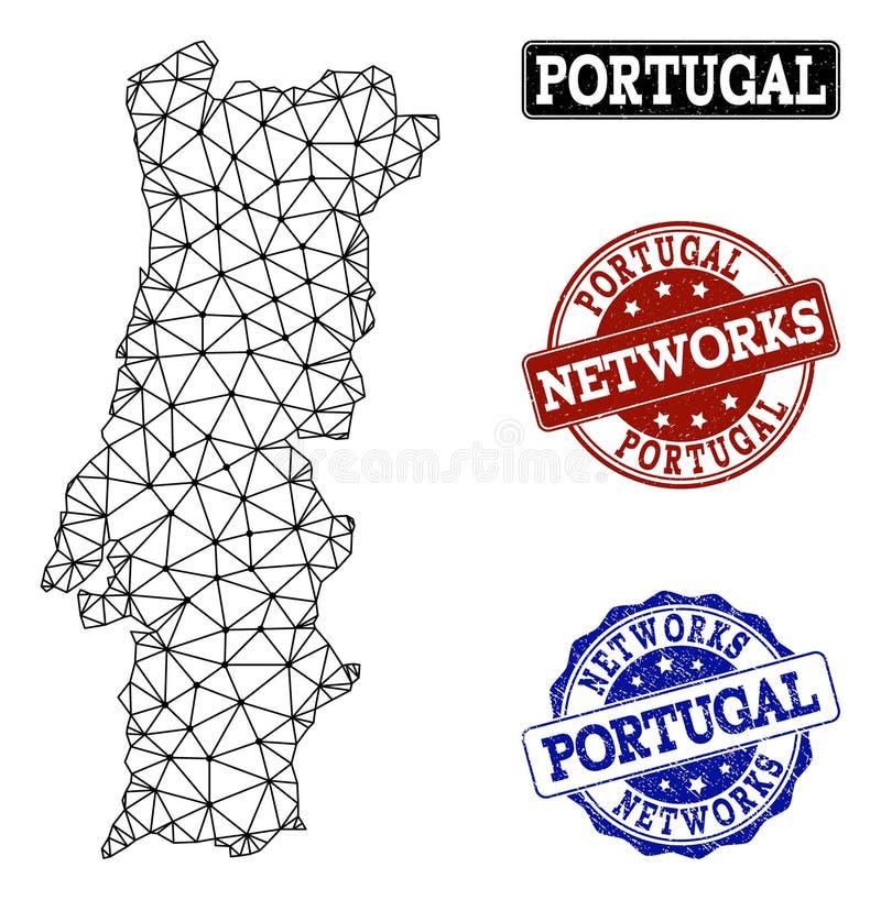 Polygonal nätverk Mesh Vector Map av Portugal och nätverksGrungestämplar stock illustrationer