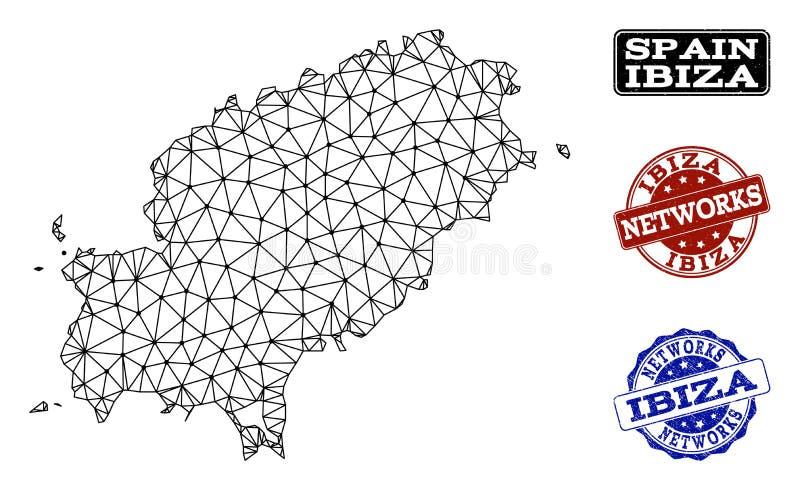 Polygonal nätverk Mesh Vector Map av stämplar för Ibiza ö- och nätverksGrunge royaltyfri illustrationer