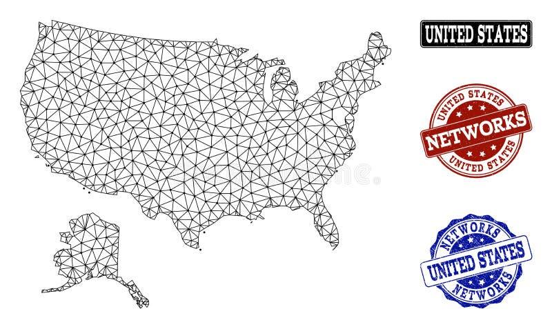 Polygonal nätverk Mesh Vector Map av USA och Alaska och nätverksGrungestämplar vektor illustrationer