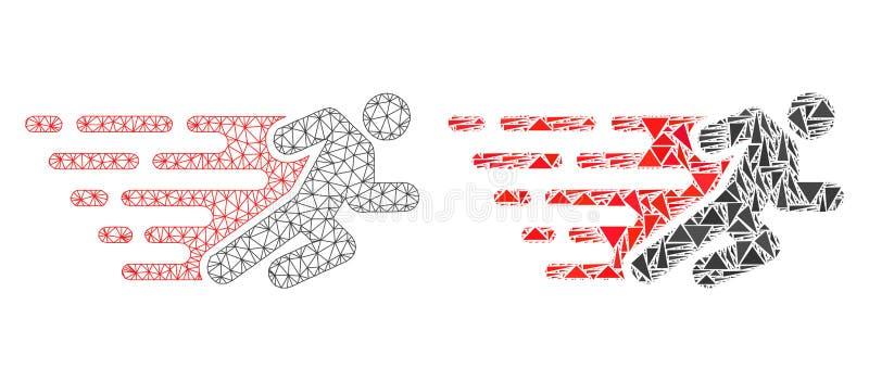 Polygonal Network Mesh Running Man and Mosaic Icon royalty free illustration