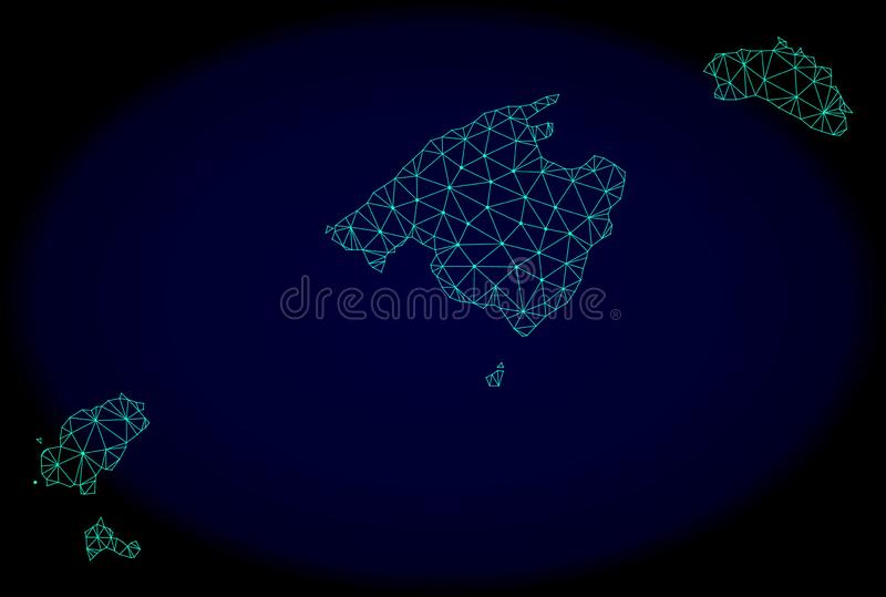 Polygonal Network Mesh Vector Abstract Map of Balearic Islands stock illustration