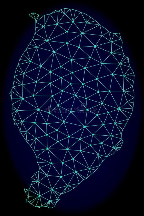Polygonal Network Mesh Vector Abstract Map of Corvo Island stock illustration