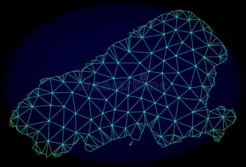 Polygonal Network Mesh Vector Abstract Map of Kahoolawe Island royalty free illustration
