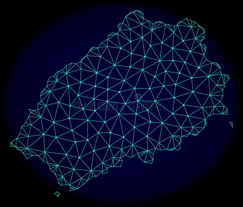 Polygonal Network Mesh Vector Abstract Map of Saint Helena Island vector illustration