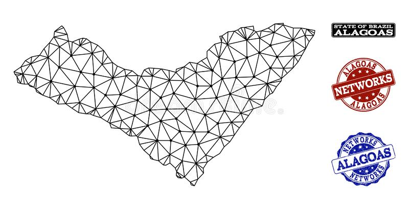 Polygonal Network Mesh Vector Map of Alagoas State and Network Grunge Stamps. Black mesh vector map of Alagoas State isolated on a white background and rubber stock illustration