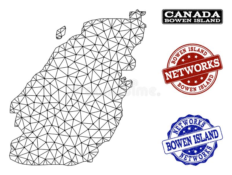 Polygonal Network Mesh Vector Map of Bowen Island and Network Grunge Stamps. Black mesh vector map of Bowen Island isolated on a white background and grunge vector illustration