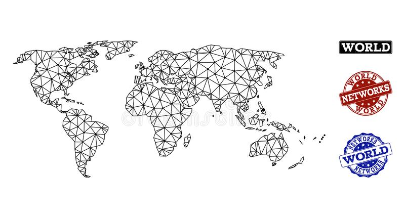 Polygonal Network Mesh Vector Map of World and Network Grunge Stamps royalty free illustration