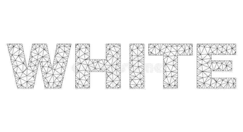 Polygonal Network WHITE Text Caption. Mesh vector WHITE text. Abstract lines and circle dots are organized into WHITE black carcass symbols. Wire carcass flat stock illustration