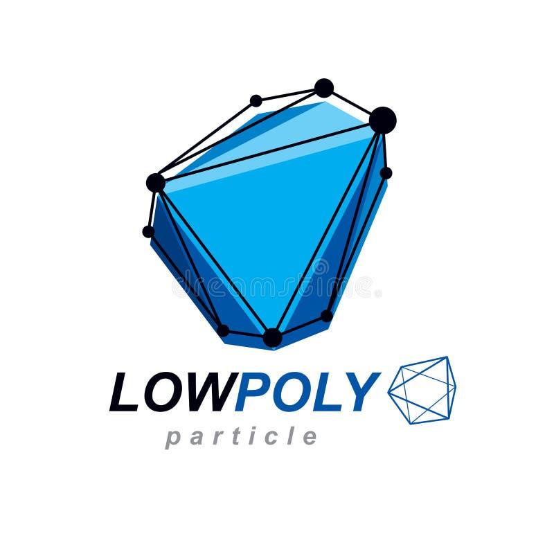 Polygonal objekt för abstrakt ingrepp för vektor 3d Kommunikationstechnolo royaltyfri illustrationer