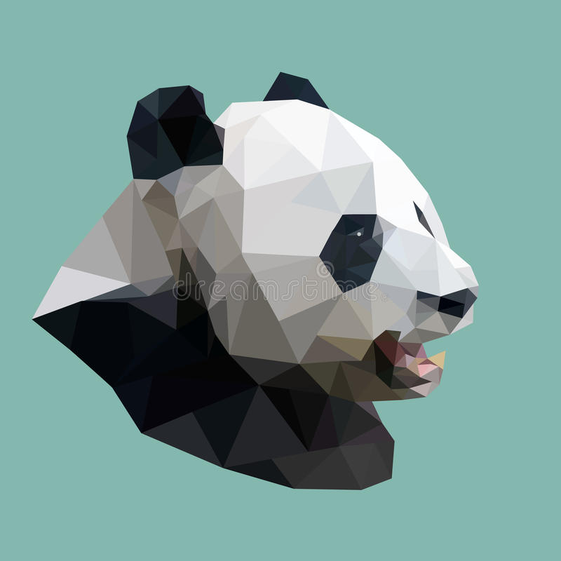 Polygonal panda, polygon abstract geometric animal, vector vector illustration