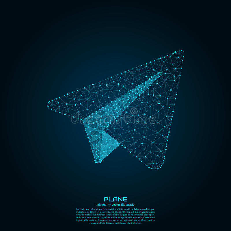 Polygonal paper plane. Point and line composition. Projects template for business. Vector illustration. Polygonal paper plane. Point and line composition vector illustration