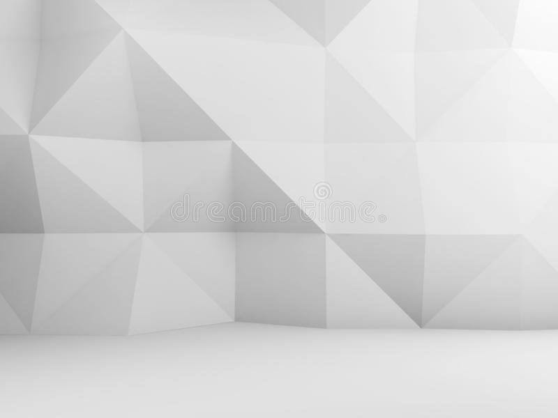 Polygonal pattern on the wall, 3d render stock illustration