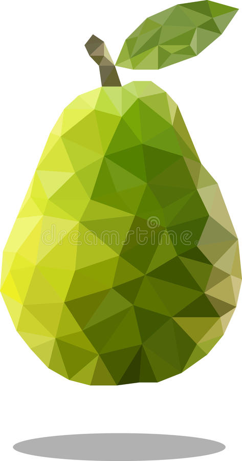 Polygonal pear fruit. Abstract geometric origami style. Raster image. vector illustration