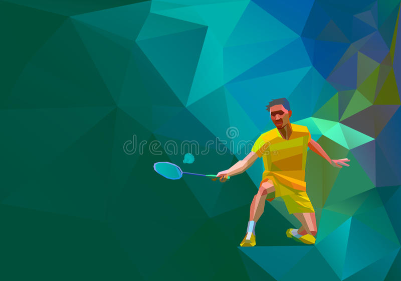 Polygonal professional badminton player on colorful low poly background doing smash shot with space for flyer, poster, web, leafle stock illustration