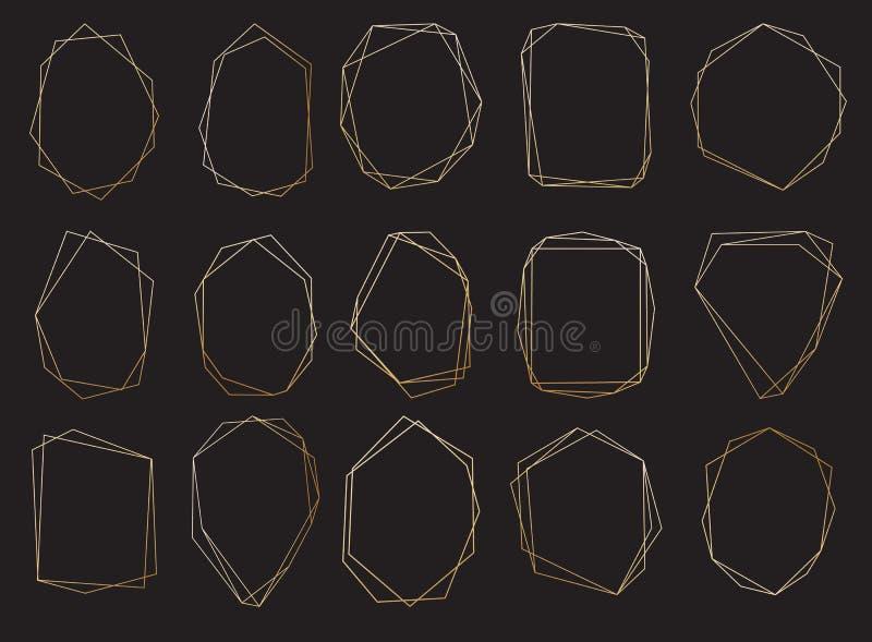 Polygonal ramuppsättning Guld- trianglar, geometriska former stock illustrationer