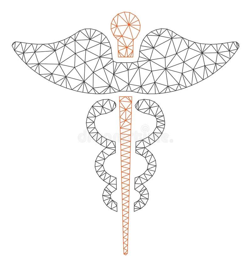 Polygonal ramvektor Mesh Illustration för Caduceus stock illustrationer