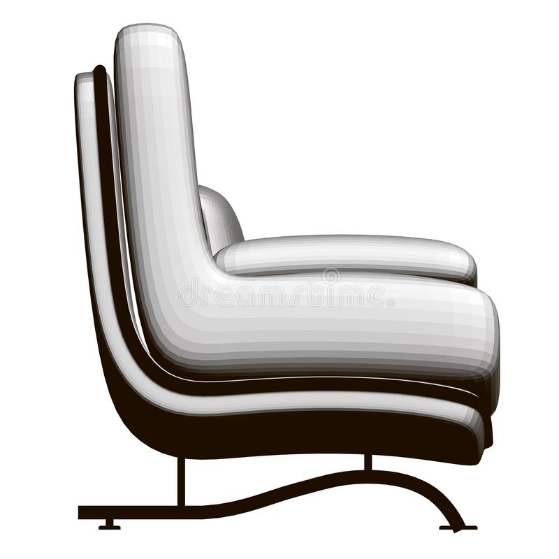 Polygonal realistic chair. Comfortable armchair with pillows isolated on a white background. Side view. 3D. Vector stock illustration