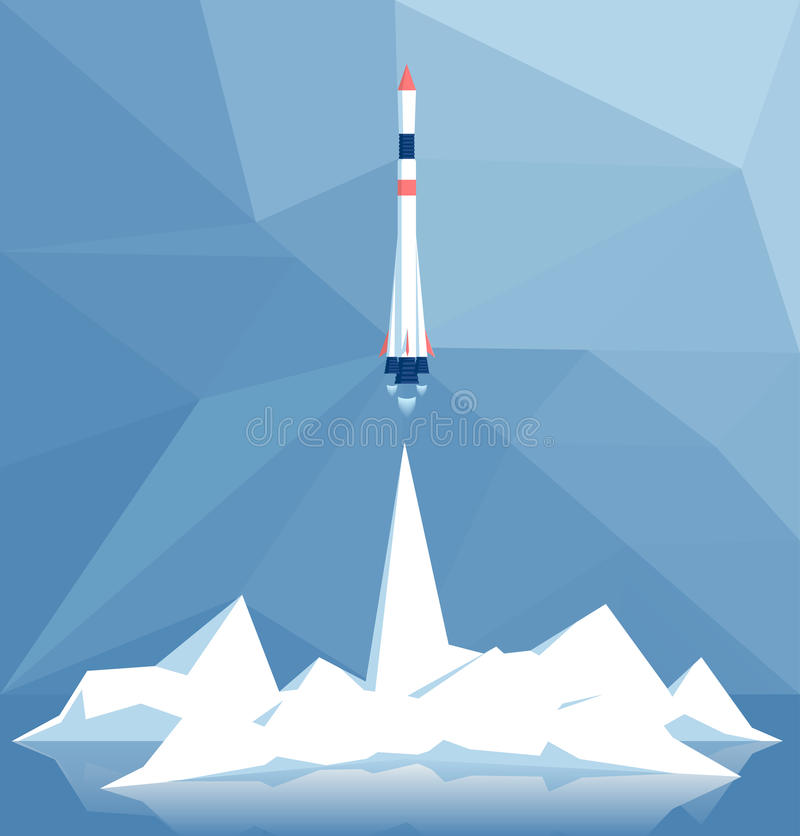 Polygonal rocket launch stock illustration