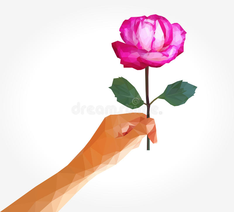 Polygonal rose full-color in left hand.  vector illustration