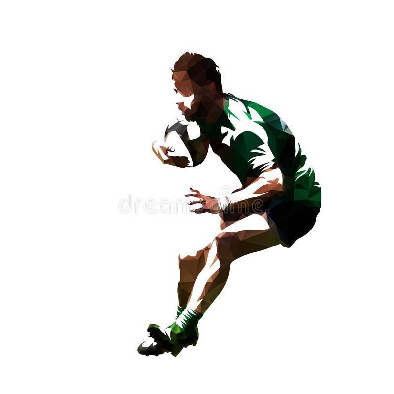 Polygonal rugby player running with ball, low poly vector. Isolated illustration royalty free illustration