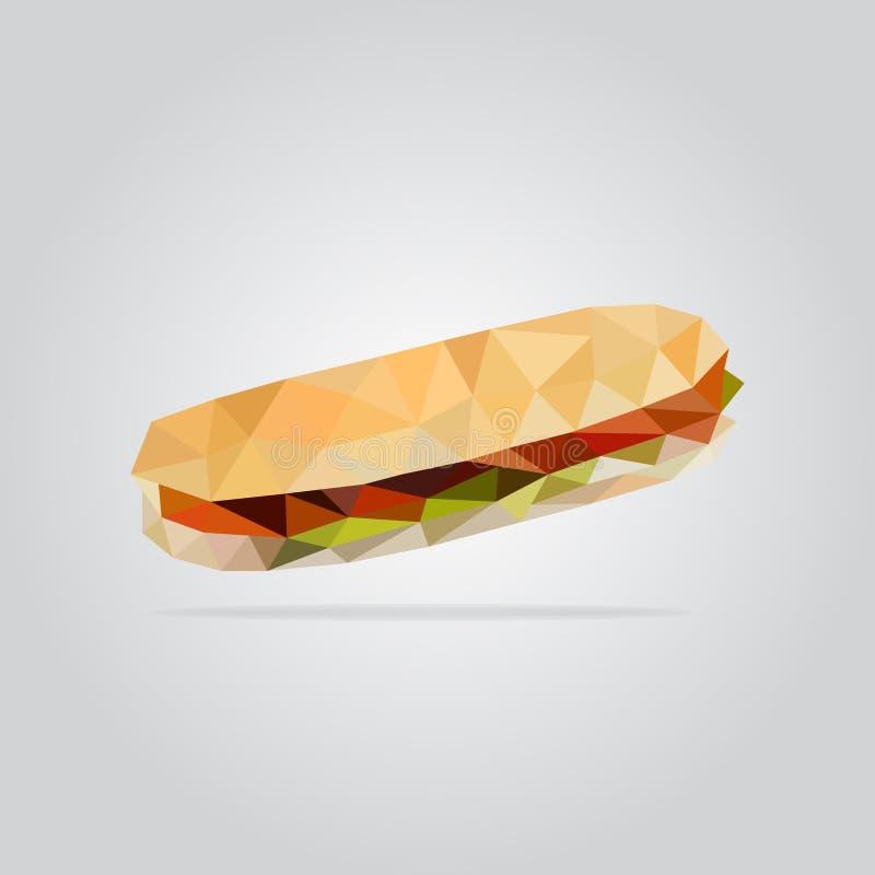 Polygonal sandwich illustration stock photo