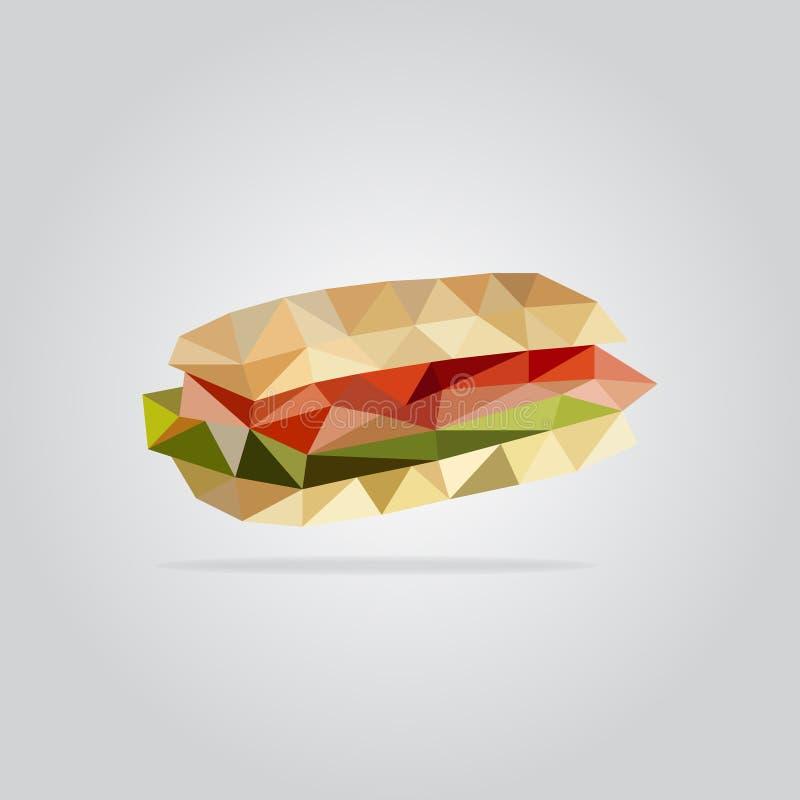 Polygonal sandwich illustration royalty free stock images