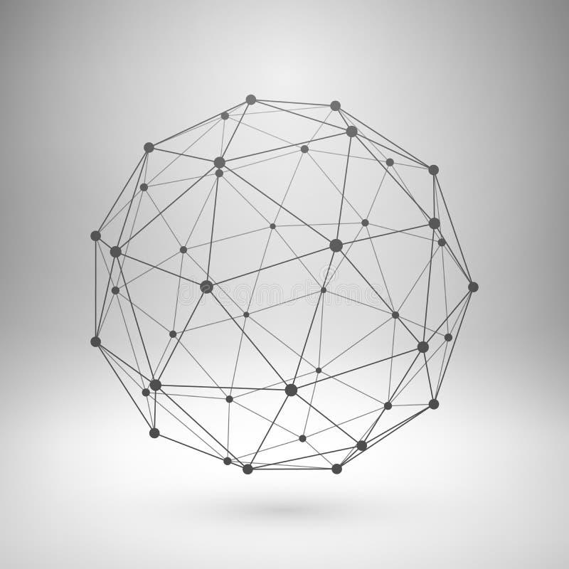 Polygonal sfär för Wireframe ingrepp royaltyfri illustrationer
