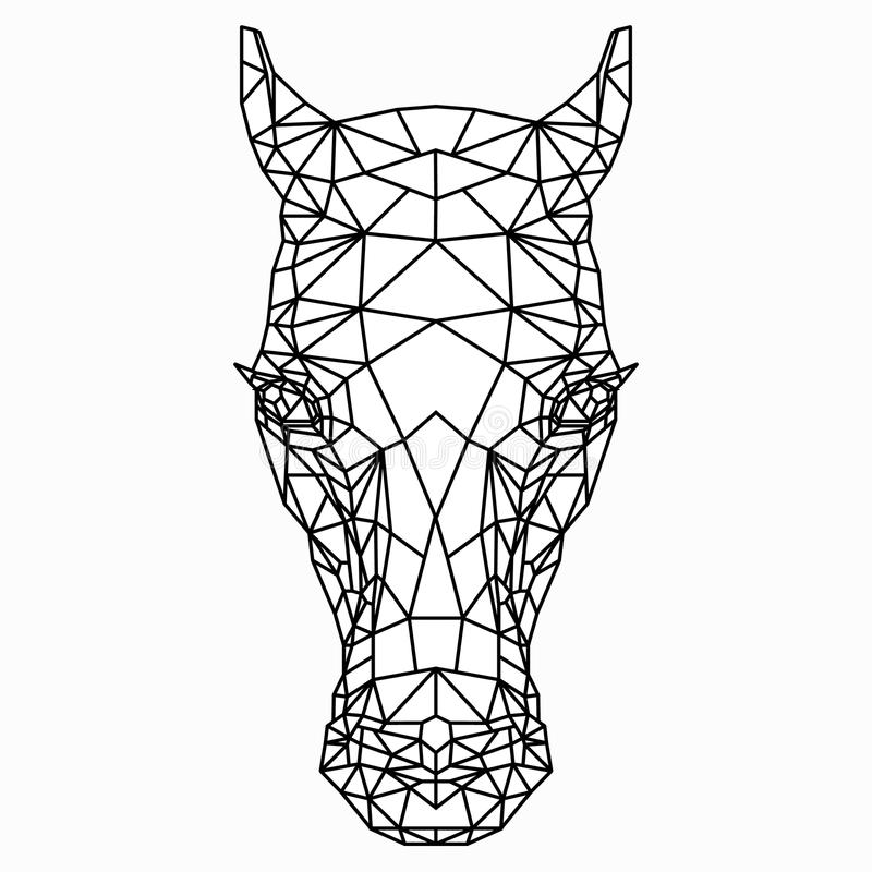 Polygon black-and-white drawing of a horse`s head. Polygonal silhouette of the head horse on white background. The contours of the polygon mesh of the figure of vector illustration