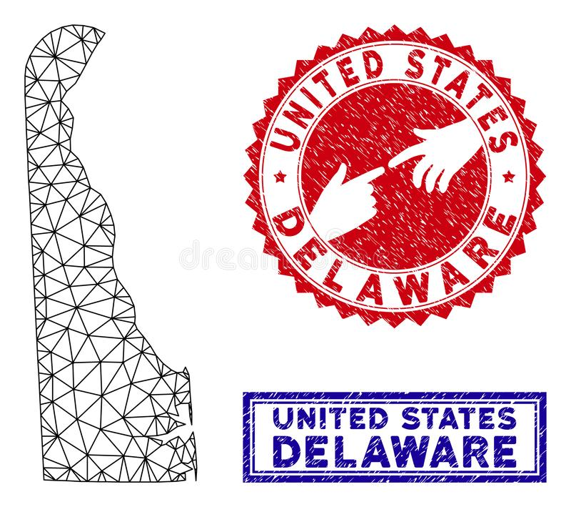 Polygonal st?mplar f?r ?versikt och f?r Grunge f?r kadaverDelaware stat royaltyfri illustrationer