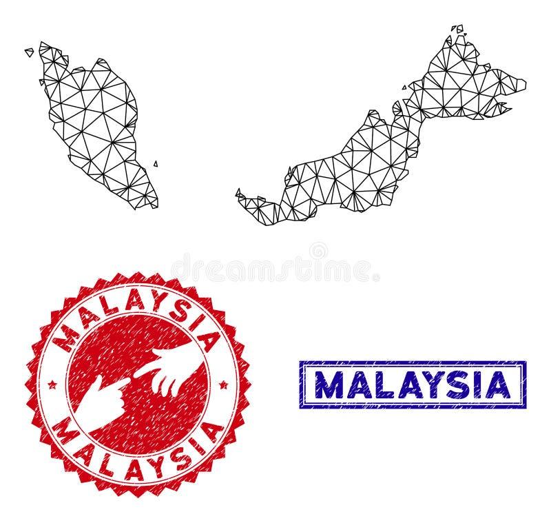 Polygonal stämplar för för trådramMalaysia översikt och Grunge royaltyfri illustrationer