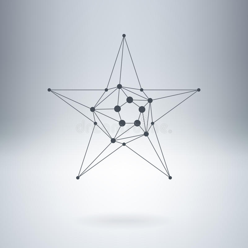 Polygonal Star, Modern stylish lowpoly logo with dots. Design element with triangles and nodes. Vector logotype template. royalty free illustration