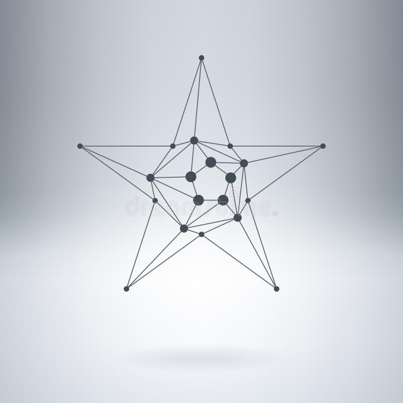 Polygonal stjärna, modern stilfull lowpoly logo med prickar Design el royaltyfri illustrationer