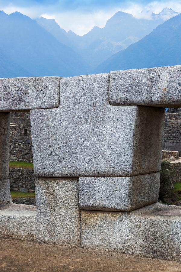 A polygonal stone. Wall in Machu Picchu royalty free stock photos