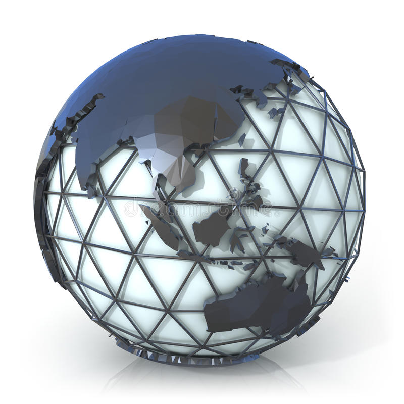 Polygonal style illustration of earth globe, Asia and Oceania view vector illustration