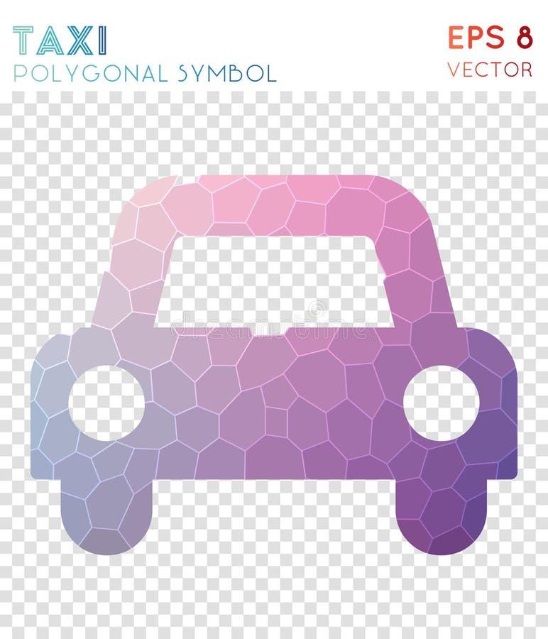 Polygonal symbol för taxi vektor illustrationer