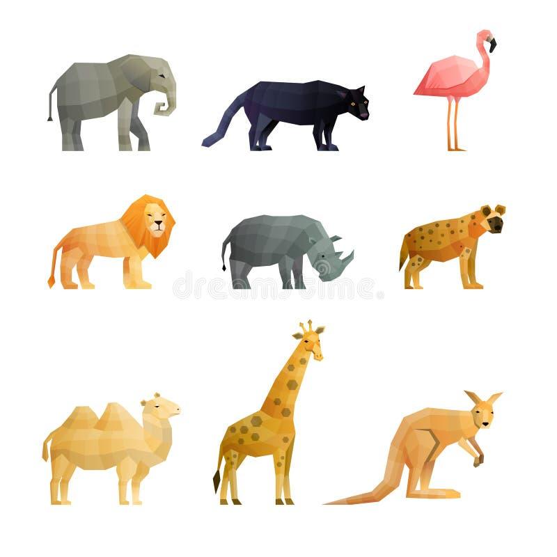 Polygonal symbolsuppsättning för sydlig vilda djur royaltyfri illustrationer