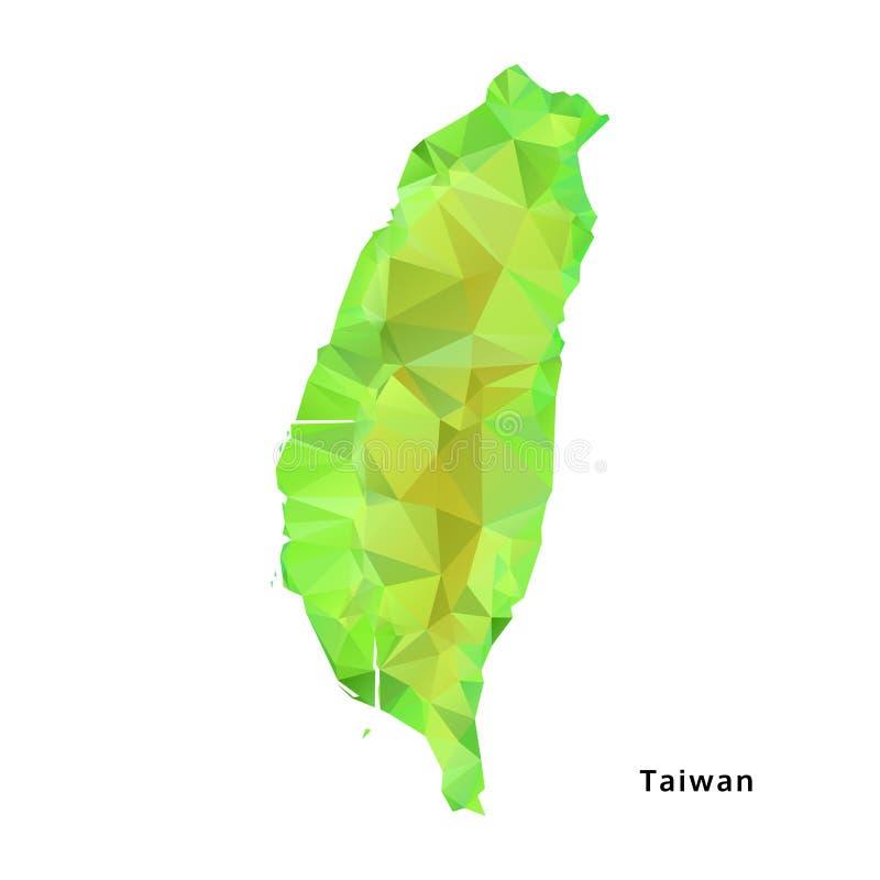 Polygonal Taiwan översikt, geometrisk grön översikt för polygon, vektor vektor illustrationer