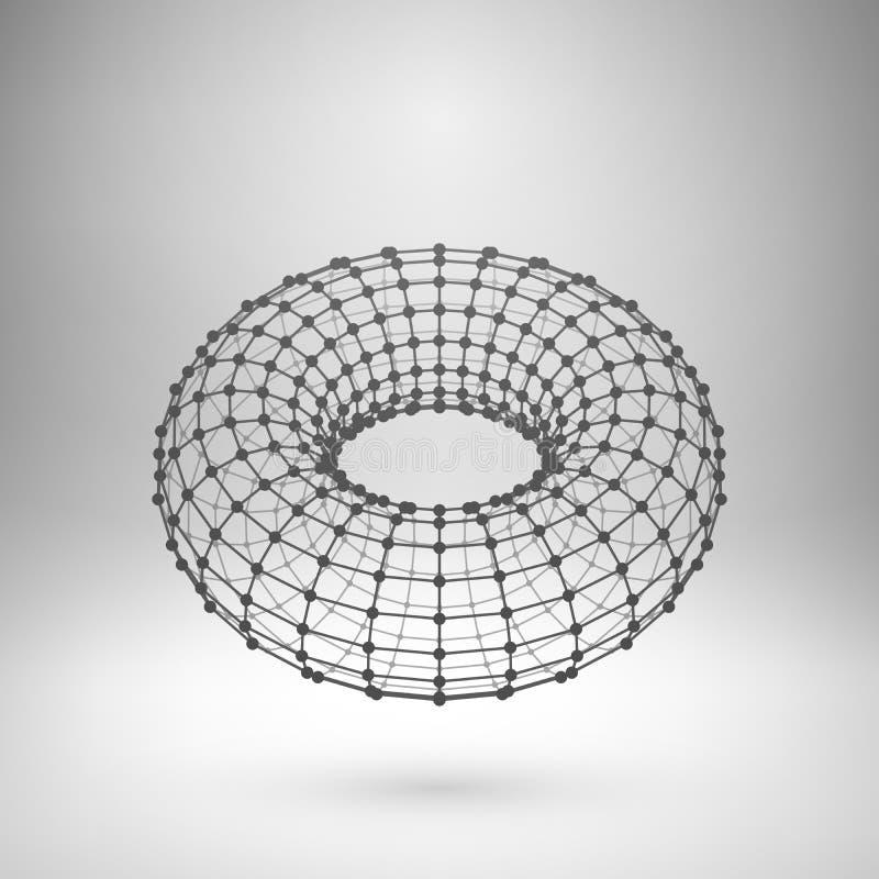 Polygonal torus för Wireframe ingrepp stock illustrationer